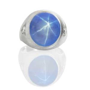 Star sapphire and diamond 14k white gold ring cabochon cut light blue star sapphire 1717 x 15 x 1022 mm 284 cts by formula and two rbc diamonds approx 50 ct tw in 14k wg gypsy setting