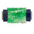 French art deco jade and lapis platinum brooch rectangular carved jade panel depicts a bird above floral ground flanked by chamfered lapis tablets and rows of rose cut diamonds marked france x206
