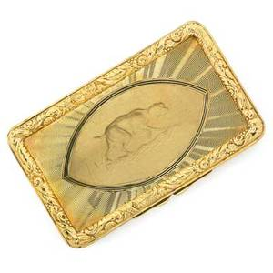 Antique 18k gold snuff box cartier rectangular engine turned gold with engraved hound reserve and laurel borders refitted interior with mirror powder screen and puff retailed by cartier in carti