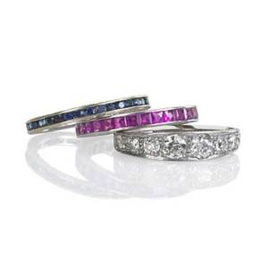 Gemstone and diamond stacking rings three platinum or gold rings eight stone oec diamond ring approx 120 cts tw in platinum french cut sapphires in 18k wg french cut rubies in platinum ca 1