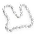 Silverwhite south sea pearl necklace strand of thirtyseven lustrous spherical south sea cultured pearls 125  10 mm on bow shaped diamond 14k wg clasp 18