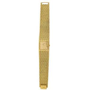 Piaget gents 18k yellow gold bracelet watch broad woven strap with square inset textured dial gold dash markers and arrow hands piaget movement 7512850 5 adj 28 mm case 9352 d 2 279615 7 1