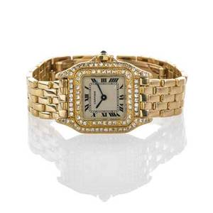 Cartier panthere ladies 18k gold diamond watch 8669116977 quartz movement cream dial with black roman hours diamond bezel on 18k case gold bracelet double folding clasp 18k yg 6 12 218 mm