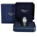 Chopard happy sport ladies steel diamond watch quartz water resistant 28 mm watch 89663 five sapphire cabochons 60 ct tw and five moving diamonds above dial 15 ct tw 7 34 in box and pack