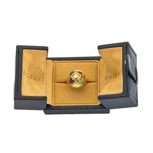 Bulgari multigem 18k gold cupido ring bombe centrally set with four heart shaped gemstones and a diamond fourth quarter 20th c marked bulgari italian gold marks size 6 94 dwt original box