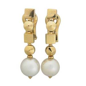 Bulgari pearl 18k gold drop earrings articulated geometry pearls 85 mm hinged backs for pierced ears twice marked bulgari made in italy 1 14 7 dwt