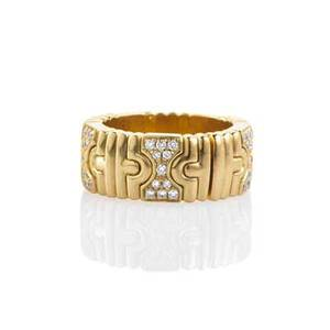 Bulgari parentesi 18k yellow gold diamond ring comfortable stretch model size 6  8 12 516 half struck bulgari and made in italy 750 2331 vi 89 dwt