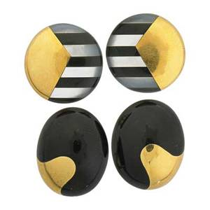 Two pairs angela cummings inlaid 18k earrings circular and oval with inlaid mother of pearl and black jade geometry ca 1980 post backs for pierced ears stamped t co largest 78 x 58 172