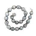 Dark grey tahitian baroque pearl diamond necklace twentyone lustrous saltwater pearls 222  158 mm join spherical diamond pave 18k wg clasp approx 150 cts tw 17 12 942 dwt gw
