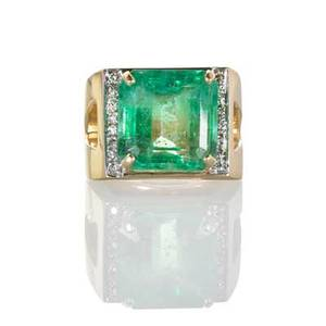 Large emerald and diamond 14k yellow gold ring square step cut emerald 144 mm 15 cts by formula geometrically set to bead set diamond shoulders ca 1970 marked 14k size 7 34 165 dwt