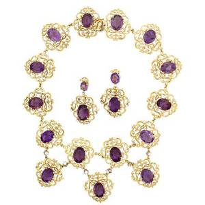 Amethyst diamond 18k gold necklace and earrings massive fringe necklace of arabesque links set with oval faceted amethysts and diamond links 17 drops 2 78 pendant earrings en suite 2 diamo