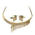 Calderoni milano 18k gold diamond fringe suite modernist necklace and earrings asymmetric bright ribbons with bead set diamond edges the 16 necklace finished by square snake link chain ca 1955