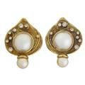Elizabeth gage pearl and diamond 18k gold earrings leaf shaped granulated panel set with round mabe pearl akoya pearl and collet set diamonds approx 52 ct tw signed gage marked bsgdg 1992