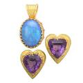 Boris lebeau textured gold gemstone jewelry three pieces oval opal approx 16 cts on black ground in closed multi prong 18k yg pendant setting 1 38 faceted heart shaped amethyst in heart shap