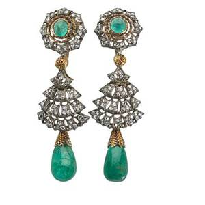 Buccellati emerald and diamond pendant earrings star shaped surmounts with cabochon emerald centers suspend rose cut diamond tiers pear shaped emerald drops silver topped 18k gold for unpierced e