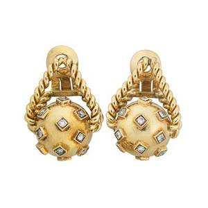 Marchak 18k yellow gold diamond earrings square set single cut diamond accents approx 75 ct tw on spherical drop affixed to rope support clip backs for unpierced ears retailed by macklowe ga