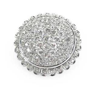 French diamond pave platinum bombe brooch in the form of a sunflower 106 transitional and oec diamonds approx 761 cts tw mid 20th c french control marks for platinum and 18k pin stem 1 14