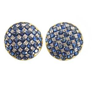 Diamond  sapphire 18k gold checkerboard earrings button shaped set with 74 blue sapphires approx 10 cts tw 48 diamonds approx 36 ct tw hinged posts ca 1995 34 14 dwt