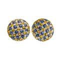 Blue  yellow sapphire diamond 18k gold earrings button shaped checkered inlaid pattern of rbc blue and yellow sapphires 1414 cts tw and rbc diamonds 26 cts tw in white gold hinged post bac