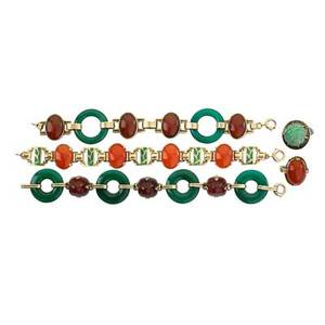 Art deco 14k yellow gold and hardstone jewelry five pieces includes three link bracelets and two rings in combinations of greens oranges or brown chrysoprase carnelian carved jade and enamel ca