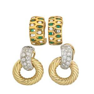 Two pairs of 18k gold ear clips with diamonds yellow gold doorknocker style with white gold diamond pave surmounts half hoop openwork with diamonds and emeralds rbc diamonds approx 210 cts tw