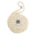 Cultured pearl necklace sapphire diamond clasp opera length double strand of lustrous spherical cultured saltwater pearls 90  78 mm joined by revised omc diamond and faceted sapphire flower head