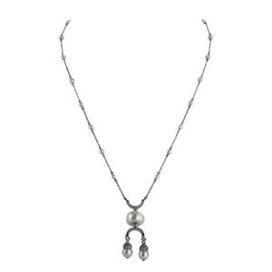 Belle epoque natural pearl and diamond lavaliere irregular button shaped pearl 108 x 106 x 85 mm centrally set between rose cut diamond crescents suspending two semispherical pearls avg 625
