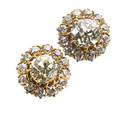 Old mine cut diamond cluster earrings circular rose gold cluster two plump omc diamonds approx 205 cts tw and 24 omc diamond melee approx 1 cts tw tension clutched post 3 dwt