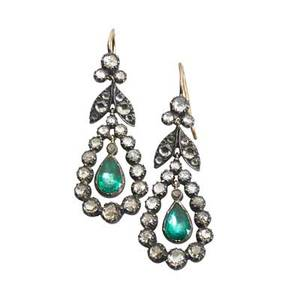 Rose cut diamond earrings in the georgian style silver topped gold pendeloque suspends green foil backed pear shaped beryls in closed settings 50 rose cut diamonds approx 170 cts tw 1 78 74
