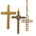 Three embellished yellow gold cross pendants step cut aquamarine cannetille surround pendant brooch with pearls on chain 15 two with tubular form rope motif design 14k largest 2 34 x 1 34