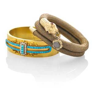 Two victorian gold bracelets hinged 14k bloomed gold and turquoise petit point cuff in the greek revival style unmarked 7 14 x 34 french 18k gold and woven hair sprung coiled serpent bracelet
