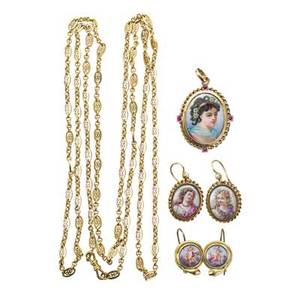 Collection of victorian limoges enamel jewelry six pieces drop earrings depict flower adorned maidens backed by mother of pearl seed pearl set shepherds hook wire backs 14k yg earrings depict