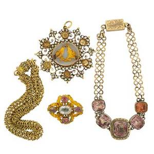 Georgian and victorian gold jewelry four pieces seed pearl and citrine pendant with glazed lovebird gold silhouette amethyst and blue gem cannetille pin gold bracelet with pink foil backed gems w