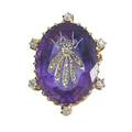 Tiffany  co diamond fly inlaid amethyst jewel oval faceted amethyst inlaid with gold and rose cut diamonds depicts a fly in 18k yg broochpendant setting with six omc diamonds ca 1870 marked
