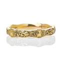 Art nouveau gold bracelet riker brothers 1902 hinged 14k gold bangle embossed with violet blossoms and tendrils inscribed and dated accommodates 7 138 dwt