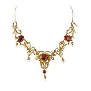 Edwardian yellow gold citrine festoon necklace buff top citrines and seed pearl among yellow gold tendrils ca 1905 marked 14k 13 12 129 dwt in original box
