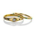 Two belle epoque american gold bangle bracelets jeweled example engraved floral motif tubular repousse and turquoise concentrically decorated marked 14k 2 34 x 2 38 internal dimensions 255 d