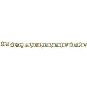 Art nouveau turquoise and river pearl gold collar two strand 14k gold dog collar with oval turquoise in spectacle settings and cast gold and pearl links sloan new york ca 1900 14 12 property