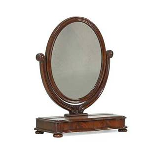Victorian shaving mirror mahogany with oval glass late 19th c 28 12 x 22 x 10