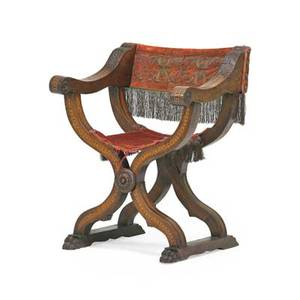 Renaissance style savanarola chair walnut with velvet upholstery early 20th c 35 x 27 12 x 21 12