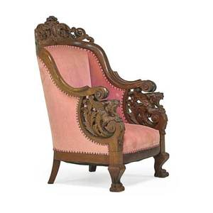 Renaissance revival armchair walnut with velvet upholstery early 20th c 46 x 30 12 x 30
