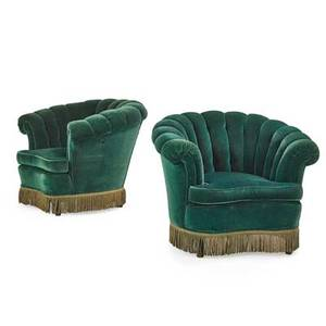 Pair of art deco parlor chairs green velvet tufted back with fringe american ca 1930 35 x 30 x 36