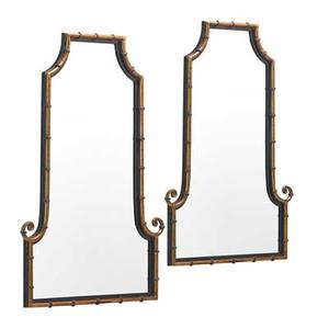 Pair of art deco style mirrors faux bamboo with patinated metal 20th c 42 x 28 12