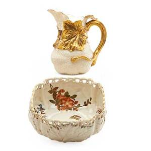Royal worcester porcelain vase two both in leaf form including one bowl and one pitcher late 19th c both marked pitcher 8