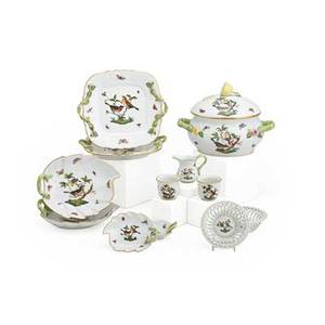 Herend porcelain partial service twelve rothschild bird pattern one covered tureen creamer two sugars two double handled servers two large leaf shaped plates two small leaf shaped plates an