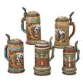 Mettlach etched steins five two numbers 2285 half liters two 1946 half liters 2800 half liter 2800 14 liter early 20th c tallest 9