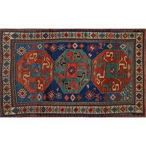 Persian kazak area rug red and blue medallions with geometric design on blue ground early 20th c 60 x 42