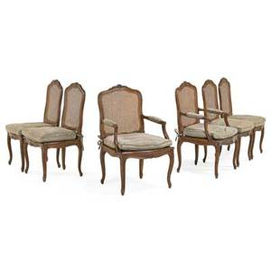 Louis xv style dining chairs six walnut with cane seat and back 20th c 40 x 23 x 21