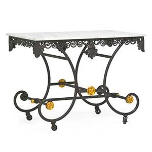 French style bakers table marble top on cast iron base with brass trim 20th c 30 x 40 x 25
