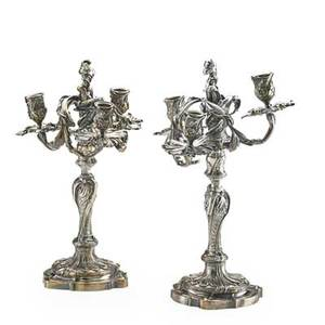 Pair of louis xv style dasson candelabra silvered bronze with three light and voluted branches 1882 signed henri dasson 15 12 h